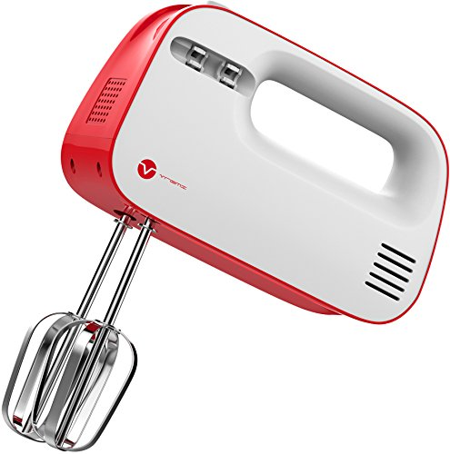 Vremi 3-Speed Compact Hand Mixer with Clever Built-In Beater Storage - Handheld Egg Beater with Stainless Steel Blades - Heavy Duty Mini Small Kitchen Mixing Machine - Red and White (Best Electric Egg Beater)