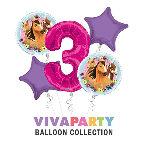 Spirit Riding Free Happy Birthday Balloon Bouquet 5 pc, 3rd Birthday, | Viva Party Balloon Collection