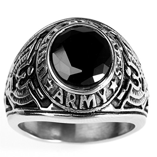 HIJONES Men's Stainless Steel United States Army Ring with Red Stone, Black Size 7