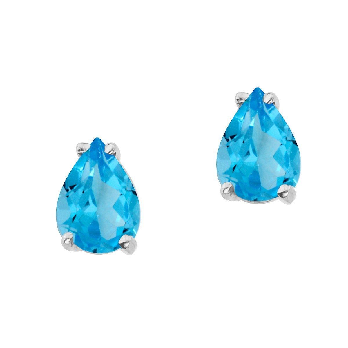 FB Jewels Solid 14k White Gold Studs Pear Gemstone Shaped Earrings