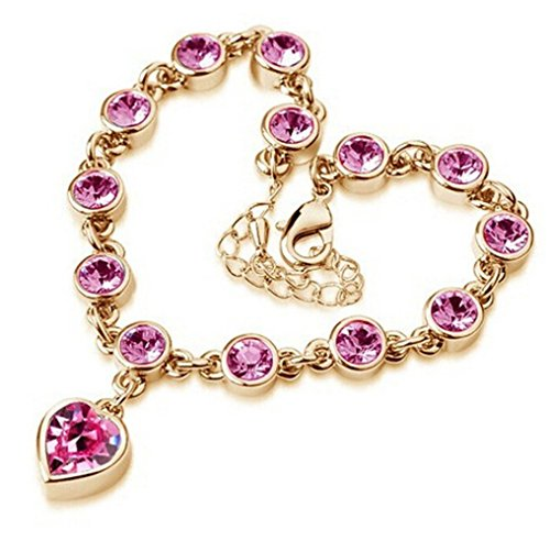 [Mr Rabbit New Style Heart Shapped Flash Drilling High-grade Luxurious Bracelets (Pink)] (The Amazing Spider Man 2 2016 Costume)