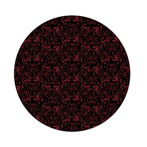 Polyester Round Tablecloth,Red and Black,Victorian Floral Design with Ivy Swirls Flowers Ethnic Design Image Print Decorative,Ruby Black,Dining Room Kitchen Picnic Table Cloth Cover,for Outdoor ()