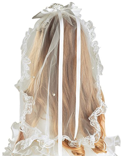 Veils Discount Wedding (Bienvenu Flower Girl Bow Embroidered Wedding Veil,Ivory)