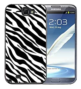 Samsung Galaxy Note 2 Black Rubber Silicone Case - Zebra Pattern Print Faux Animal Pattern
