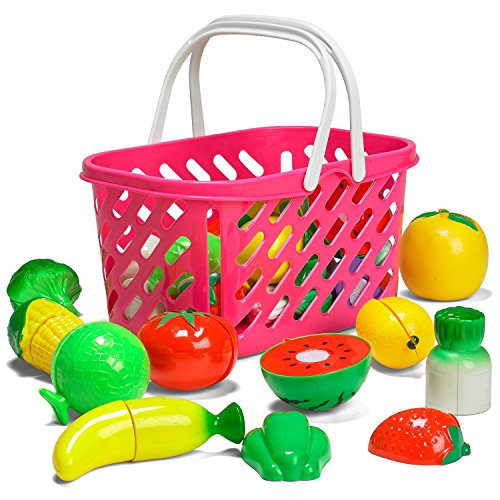 Prextex Velcro Fruits/Vegetable Play set- Plastic Cutting Velcro Fruits and Veggies In A Basket