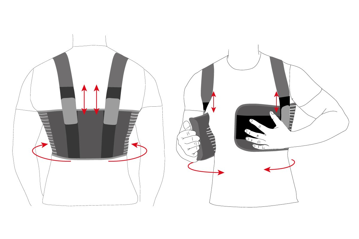 Orthopedic Male Rib Belt/Men's Chest Support - Elastic Breathable Brace  Black X-Large