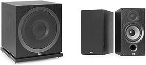 ELAC Debut 2.0 SUB3010 400 Watt Powered Subwoofer, Black & Debut 2.0 B6.2 Bookshelf Speakers, Black (Pair)