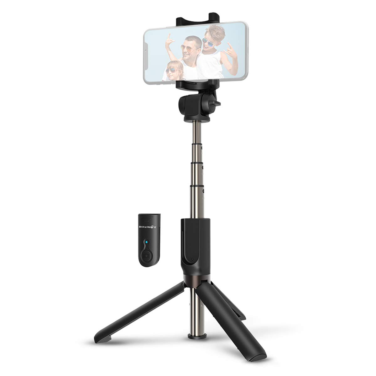 Selfie Stick Bluetooth, BlitzWolf Extendable Selfie Stick Tripod with Wireless Remote for iPhone X/iPhone 8/8 Plus/iPhone 7/7 Plus/iPhone 6 Plus, Galaxy S9/S9 Plus/S8/S8 Plus/S7/Note 8, Huawei, More