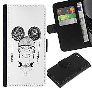 ARTCO Cases - Apple Iphone 4 / 4S - Mysterious Fashion Asian Oriental Girl - Cuero PU Delgado caso Billetera cubierta Shell Armor Funda Case Cover Wallet Credit Card
