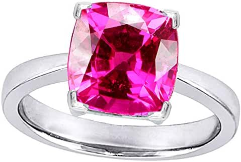 Star K 10mm Cushion-Cut Solitaire Ring with Created Pink Sapphire