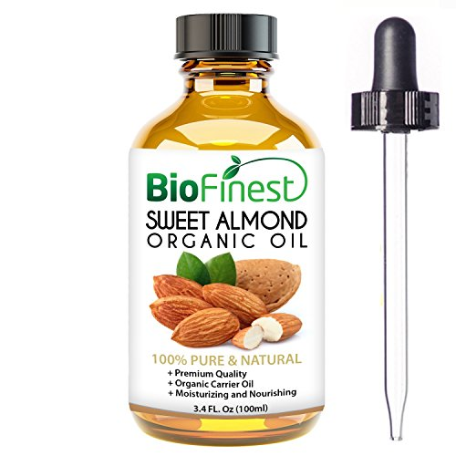 Biofinest Sweet Almond Organic Oil - 100% Pure Cold-Pressed - Premium Quality - Best Moisturizer - Vitamin A/E/K - Remove Dark Circles/Fine lines - Anti-aging - FREE E-Book and Dropper - Cartier Circle Glasses