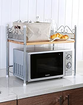 ikazs 1-rack moderno de color blanco horno microondas cocina rack Roll Over imagen para