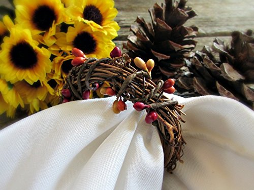 Fall Berry Napkin Ring Holders for Autumn Parties and Thanksgiving Table Decoration (Set of 4, 6, 8, 10, 12)