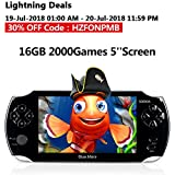 Handheld Game Console,16GB 5 Inch Screen2000 Classic Game, Support Video & Music Playing, Built-in 3M Camera, in 1USB Charge, Birthday and Holiday Best Gift for Kids (Black)…