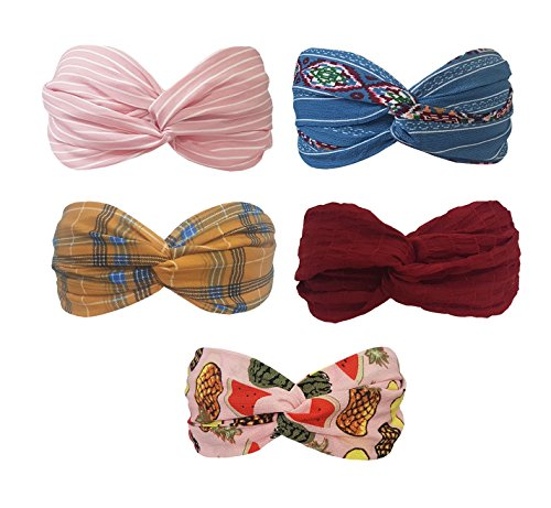 BeautyN 5 Pack Headbands Headwrap Hair Band Elastics Hair Accessories for Women Girl (F61)