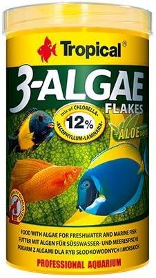 3 copos de almga de 100 ml/20 g de copos delicados, alimentos ricos en algas para la alimentación diaria de agua dulce y peces marinos