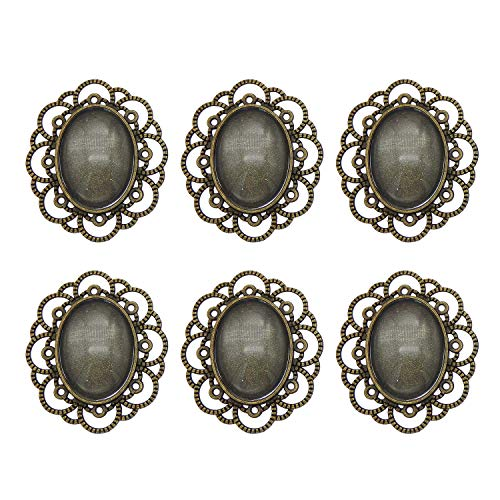 Julie Wang 10 Sets Oval Lace Pin Brooch Bezel Blanks Bronze Setting with Matching Glass Cabochons ()
