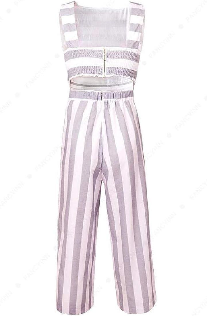 Wofupowga Women Stripe Backless Sleeveless Capri Length Long Rompers Jumpsuits