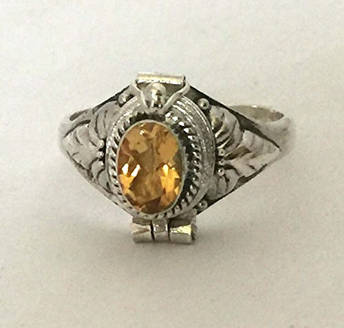 Yellow Citrine November birthstone Poison Ring Bali Sterling Silver Secret Locket AR08