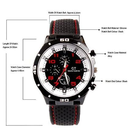 Fanmis GT Racer Reloj Deportivo Militar Piloto Aviador Ejército Estilo Negro Silicona Rojo Reloj para hombre: Amazon.es: Relojes