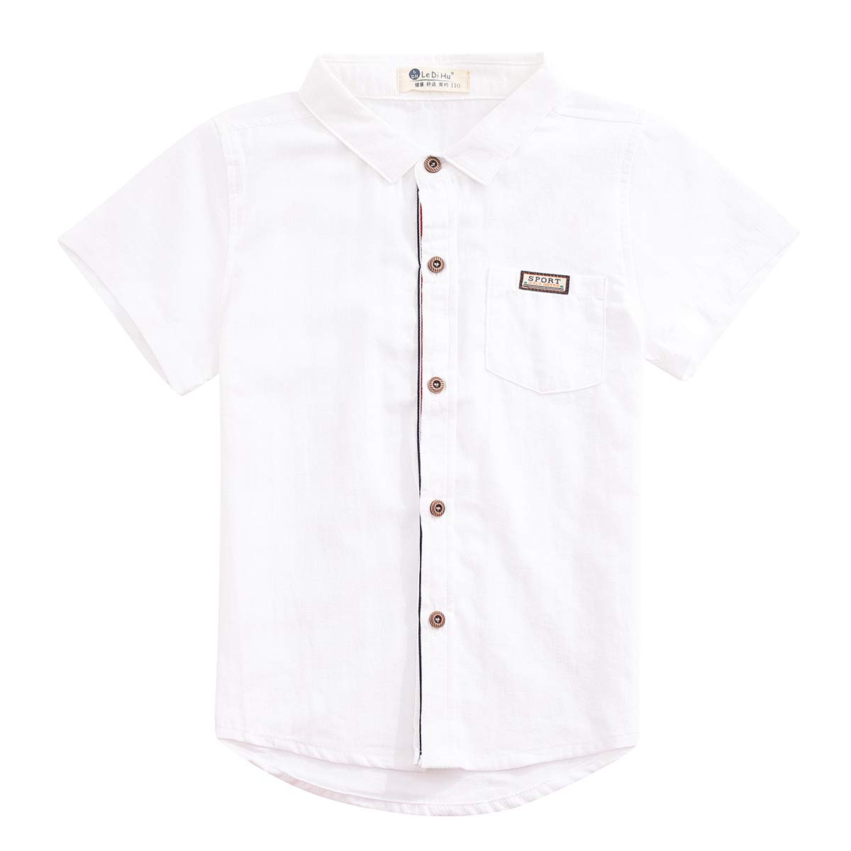 Ledihu Boys Spring and Summer Lapel Casual Short-Sleeved Shirt