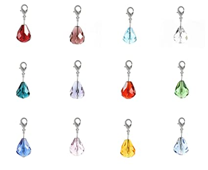 f250665376 1 Set Clip On Charms Dangle Birthstone Charms 12mm Austrian Teardrop  Crystal Beads (12pcs) for Jewelry Craft Making BL7