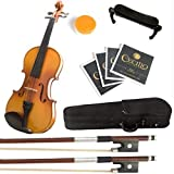 Mendini 4/4 MV400 Ebony Fitted Solid Wood Violin with Hard...