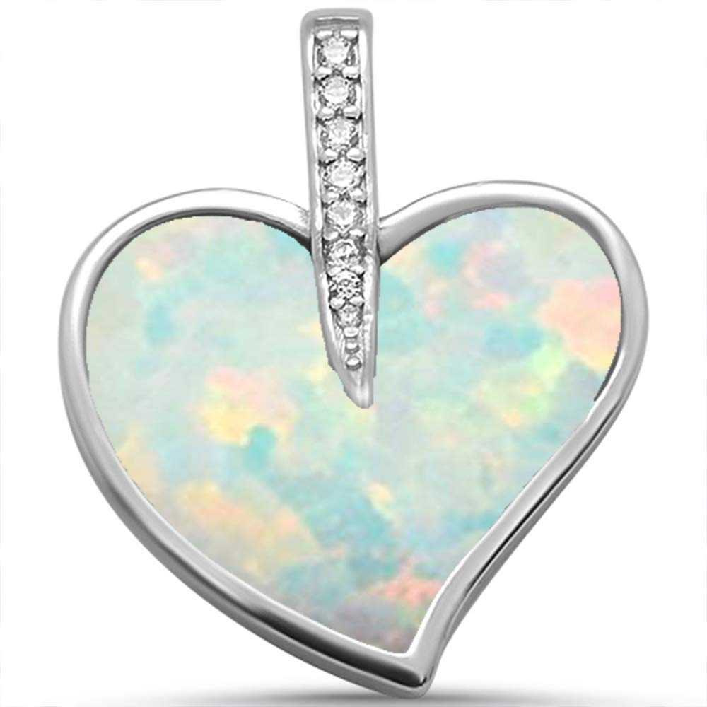 Oxford Diamond Co Sterling Silver Lab Created Blue Opal /& Cubic Zirconia Heart Charm Pendant Choose Your Color