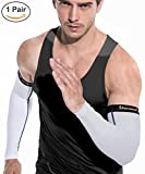 Shinymod Arm Sleeves UV Protection Sleeves for Men Women Youth Arm Warmers Compression Sports Long Sleeves Cycling Hiking Golf Basketball Driving Fishing Tattoo Covers Elbow Sleeves (White, L)
