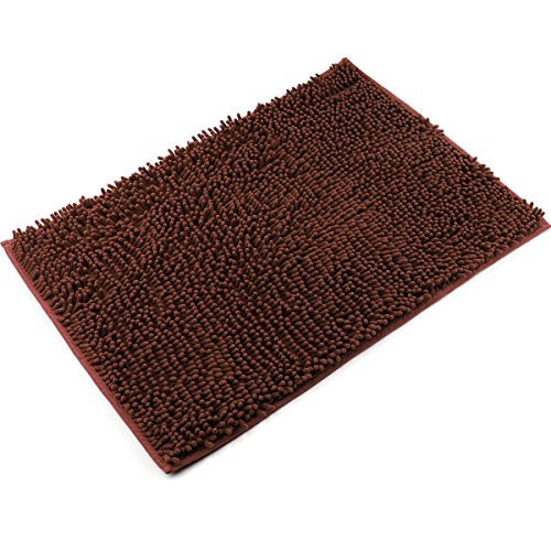 Vdomus Non-slip Microfiber Shag Bathroom Mat, 20 x 32-Inches, Brown (32 Piece Display)