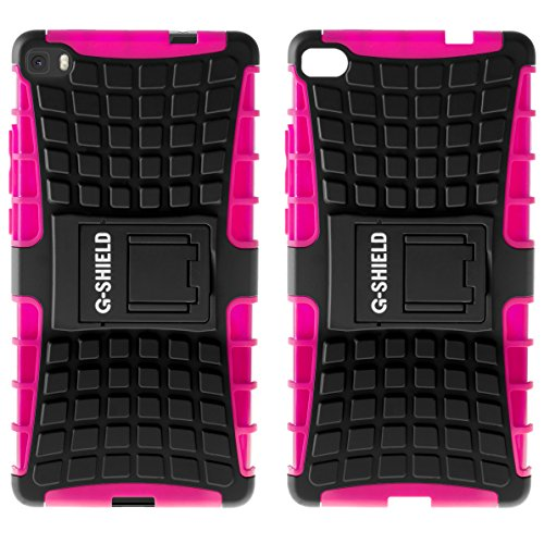 Funda Huawei P8 Lite 2015, G-Shield Carcasa Extremo Protección [Con Soporte] [Anti-Arañazos] [Anti-Choque] [Muy Resistente] Híbrida a Prueba de Golpes Case Cover Para Huawei P8 Lite (2015/16) - Negro Rosa