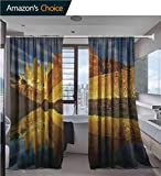 vanfanhome Sheer Curtains, Towers with Reflection at Sunrise Torres Del Paine National Park Patagonia Chile Printing, Semi Sheer Linen Look Curtain 2 Panels, 54 x 72 Inch/Panel