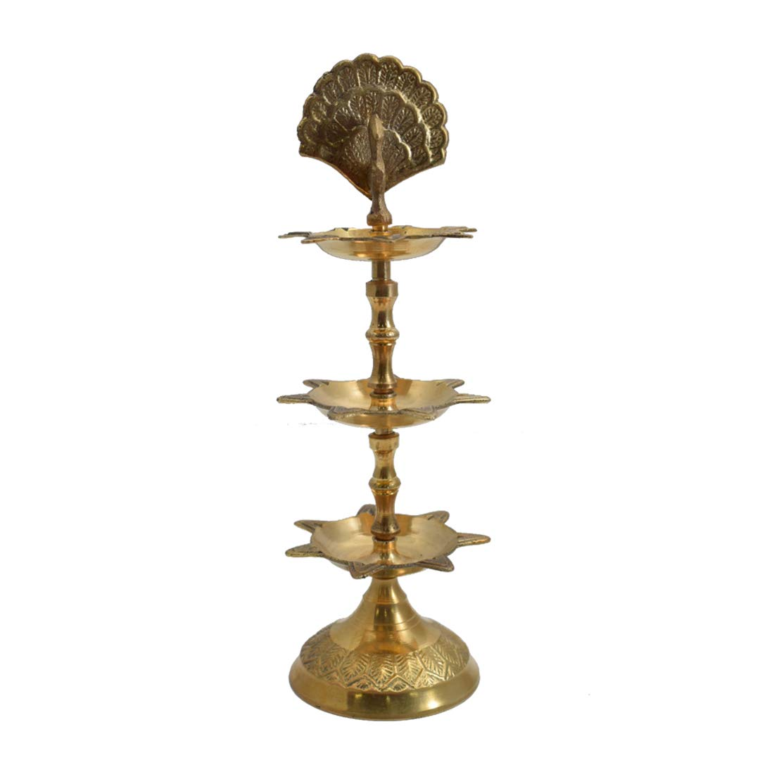 Brass Panchmahal Diya 3 in 1 Oil Lamp Diwali Puja Home Décor Gift Adjustable Dia Indi Shoppee