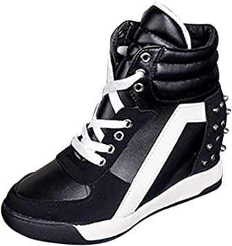 Womens Zip Up Hidden Wedge Heel High tops Trainers Casual Slip On Sports Shoes