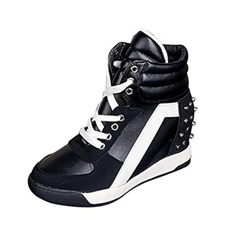 6a85bc1cd1d0 Image Unavailable. Image not available for. Color  U-MAC High Top Wedge  Sneakers for Womens Platform Trainers Lace up Cute Ladies Hidden