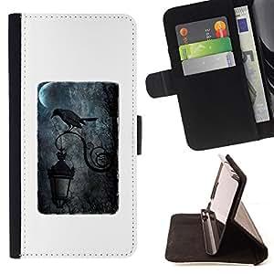 STREETLAMP MOON RAIN CROW BLACK DARK/ Personalizada del estilo del dise???¡Ào de la PU Caso de encargo del cuero del tir????n del soporte d - Cao - For Samsung Galaxy Note 4 IV