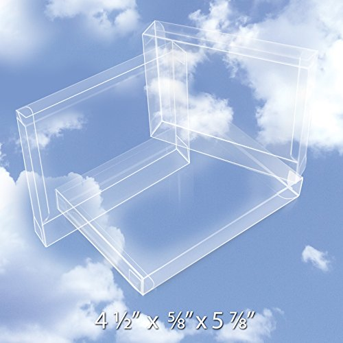 - 50 Crystal Clear Plastic Boxes (12 Mil) - Greeting Card Case Protects Stationery, Photos, Party Favors, A2 Envelopes - Bulk Acetate Box for Storage, Packaging, Gift Card Safe BOX5-4-1/2X5/8X5-7/8-B50