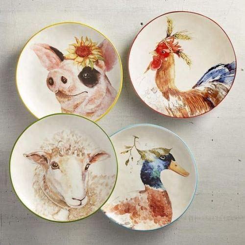 (New Pier One 4pc Set Adorable Farm Animals Pig, Sheep, Rooster and Duck Salad Dessrt Appetizer Plates 8