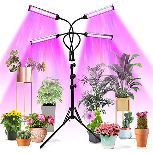 Lampe de Plante, 420 LEDs 144W Lampe de Croissance Horticole AUTO-ON/OFF avec Trépied Réglable (11-63 Pouces), LED Lampe de Culture à Spectre Complet avec Minuterie,10 Niveaux de Luminosité Warmfunn