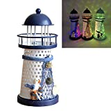 DE-Spark 7.5'' High Color Changing LED Lantern Night Light Metal Vintage Openwork Ocean Lighthouse Wedding Lamp, 1 of 3 Mediterranean Styles, Batteries Included, with Greeting Card, 1 Pcs