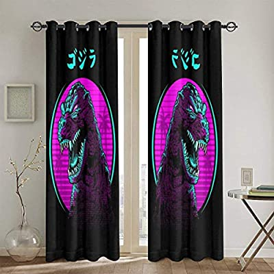 FDASLJ Customized Blackout Window Curtains Retro Godzilla Face Grommet Thermal Insulated Room Darkening Drape for Bedroom Living Room 52 X 72 Inch, 2 Panels