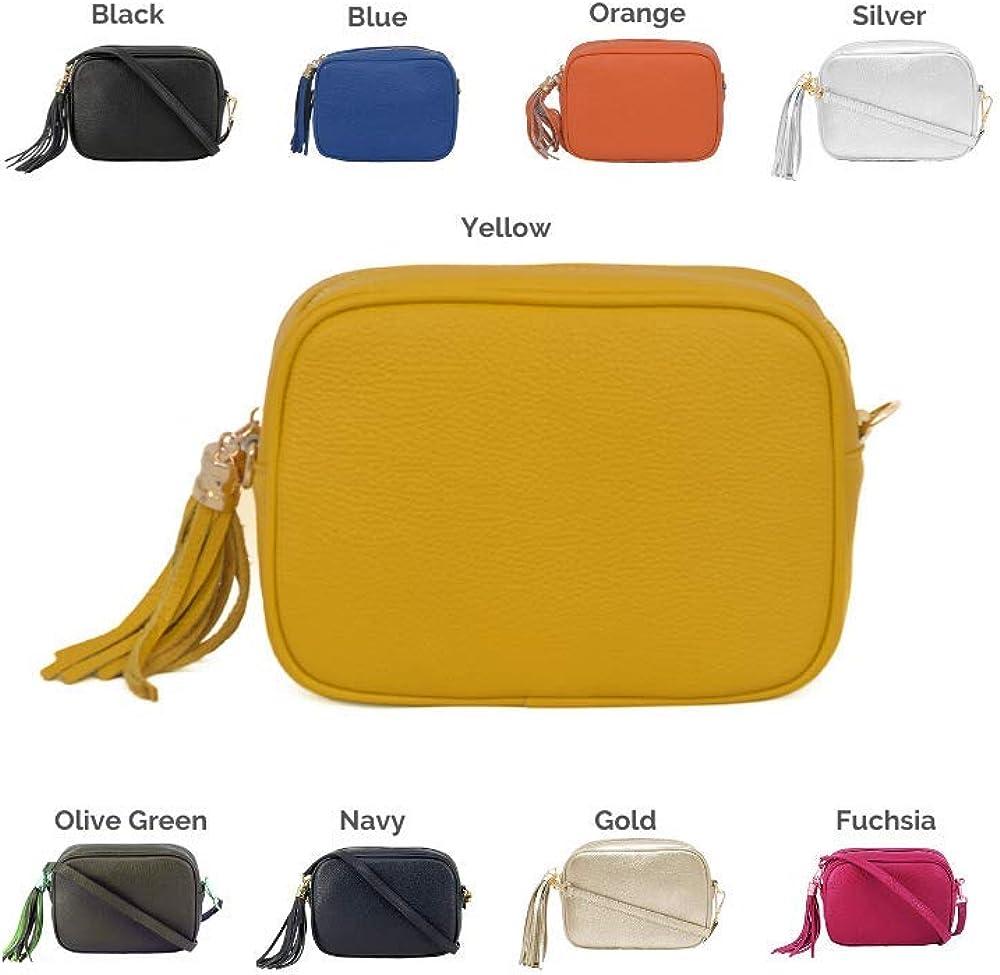 A to Z Leather Tasche aus Rindsleder für Frauen mit Druckknopf und verstellbarem Riemen. Anpassbar mit Ihren Initialen. Senf