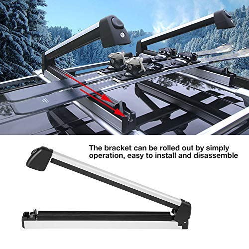 Car Ski Rack, Lockable Car Roof Ski Carrier Ski & Snowboard Mount Top Holder, Ski and Snowboard Roof Rack Can Transport 2 Skis and 4 Snowboards