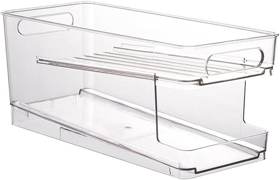 HELYZQ Can Dispenser Rack Standing Kitchen Cans Dispenser Storage Organizer Bin for Canned Food Soups Soda Compact Vertical Holder Transparent
