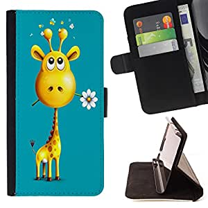 Dragon Case- Caja de la carpeta del caso en folio de cuero del tir¨®n de la cubierta protectora Shell FOR Apple iPhone 4 4S 4G- Giraffe Cute Cartoon