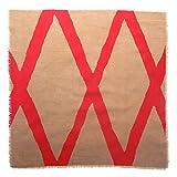 Gitika Goyal Home Windows Collection Cotton Khadi Khaki Napkin 17x17 Diamond Design, Red Hand Screen Print