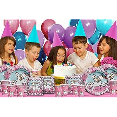 Rainbow Unicorn Pegasus Birthday Party Supplies Set Plates Napkins Cups Tableware Kit for 16 by Birthday Galore: Toys & Games