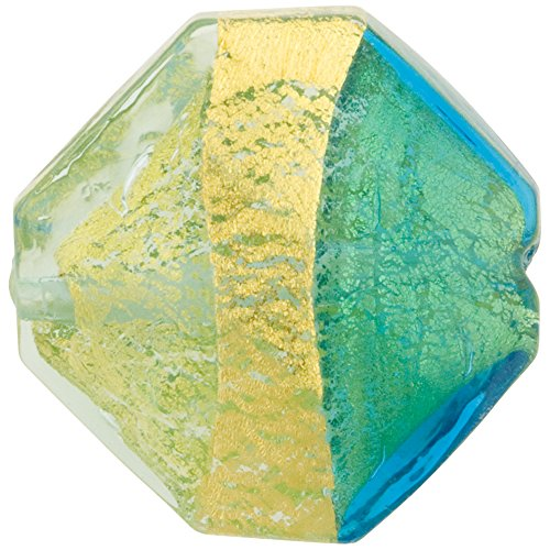 Murano Glass Bead Twist Octagon, 24kt Gold Foil Encased in Aqua and Aquamarine 20mm, 1 Piece ()