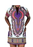 Africa Totem Shift Dress Tribal Printed Stand Collar V neck Short Sleeve Dress Plus Size