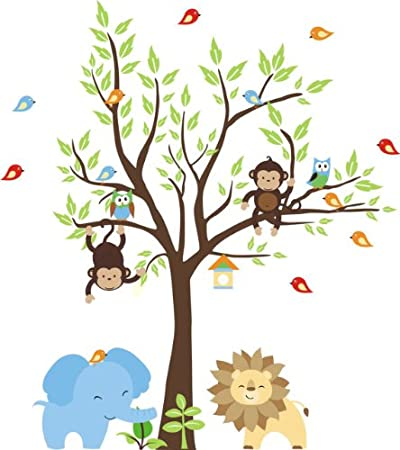 Baby Nursery Wall Decals Safari Jungle Childrens Themed (Inches) Animals Trees Wildlife Repositionable  sc 1 st  Amazon.com & Amazon.com: Baby Nursery Wall Decals Safari Jungle Childrens Themed ...